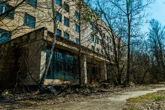 Old abandoned hospital in the city of Pripyat, Ukraine. Consequences of a nuclear explosion at the Chernobyl nuclear power plant. Chernobyl Exclusion Zone royalty free stock photography