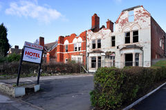Old abandoned hotel in Birmingham stock image