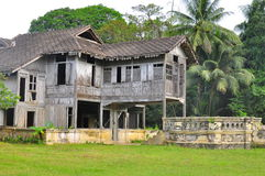 Old abandoned house. An old wooden house abandoned in Malaysia Royalty Free Stock Images
