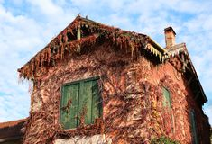 Old abandoned house with colorful autumn leaves Stock Image