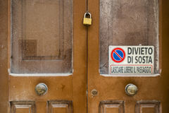 Old abandoned house door very sad in the old town in Salento. Italy Royalty Free Stock Photos