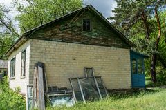 Old abandoned house at the forgotten summer camp Stock Photography