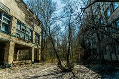 Old abandoned house in the ghost town of Pripyat, Ukraine. Consequences of a nuclear explosion at the Chernobyl nuclear power plan. Chernobyl Exclusion Zone royalty free stock image