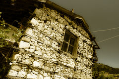 Old and abandoned house in mountain village Sirtkoy Royalty Free Stock Images