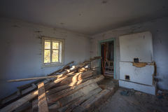 Old abandoned house. One of the room in old forgotten rural house Royalty Free Stock Photo