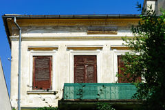 Old abandoned house on sea resort, summert day Stock Photo