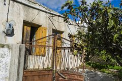 Old abandoned house in the traditional village Chamaitoulo, Crete, Greece. Old abandoned house in the traditional village Chamaitoulo at Crete island, Greece Royalty Free Stock Images