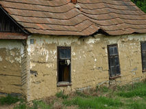 Old abandoned houses made of mud. Old abandoned ruined house in the countryside Stock Photo