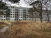 Renovation of destroyed blocks of flats in Prora. Old abandoned houses in Prora. Renovation of destroyed blocks of flats. Prora region, Ruegen island, Germany stock photo