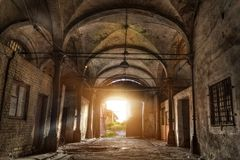 Old abandoned industrial building with vaulted celling in Gothic style. Abandoned German meat processing plant Rosenau Royalty Free Stock Images