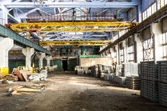 Old abandoned industrial factory warehouse at sunny day Royalty Free Stock Photography