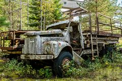 Old abandoned industrial truck rusty and worn Royalty Free Stock Images