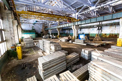 Old abandoned industrial warehouse at sunny day Royalty Free Stock Photos