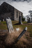 Old Abandoned Irish Cemetery and Church Ruins Stock Image