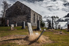 Old Abandoned Irish Cemetery and Church Ruins Royalty Free Stock Images