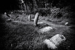 Old abandoned Jewish cemetery BW illustration Royalty Free Stock Photography
