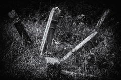 Old abandoned Jewish cemetery BW illustration Royalty Free Stock Images