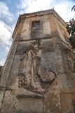 Old abandoned landmark. Close up view of old abandoned landmark, called Tower of the vegetable garden of the dogs, located in Faro city, Portugal royalty free stock photo