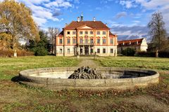 Old abandoned Libechov castle builing with fountain in the park. Old abandoned Libechov castle builing with empty fountain in nearby park Royalty Free Stock Images