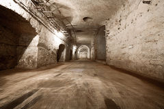 An old abandoned limestone mine corridors Royalty Free Stock Images