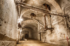 An old abandoned limestone mine corridors Stock Image