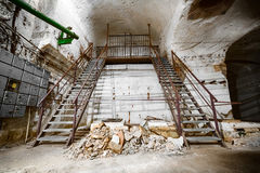 An old abandoned limestone mine corridors Stock Images