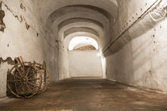 An old abandoned limestone mine corridors Royalty Free Stock Image