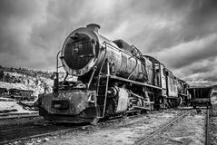 Old abandoned locomotive train, dramatic black and white version Royalty Free Stock Photo