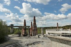 Old abandoned marble factory in Ruskeala, Russia. Old abandoned marble factory in Ruskeala, Karelia republic, Russia royalty free stock photo