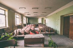 Old abandoned conference room Stock Images