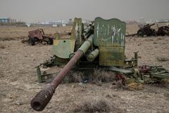 Old military vehicles, tanks and guns in Afghanistan. Old or abandoned military equipment in Afghanistan in October 2018 royalty free stock photography