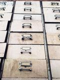 Old abandoned wooden drawers with stained, shot from low angle raise up royalty free stock images