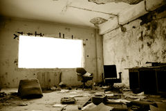 Old abandoned office. View of an old abandoned office interior Royalty Free Stock Photos