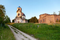 Old abandoned orthodox church in the sunset light Royalty Free Stock Photo