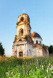 Old abandoned orthodox church in the sunset light Stock Images