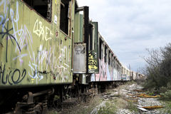 Old and abandoned passenger train Stock Photo