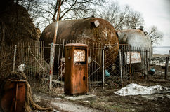 An old abandoned petrol station.  stock photos