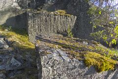 Old abandoned quarry in the Ladoga skerries, Karelia, Russia. Royalty Free Stock Photos