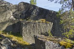 Old abandoned quarry in the Ladoga skerries, Karelia, Russia. Stock Photos