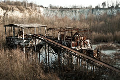 Old abandoned quarry, rusty ramp stock photos