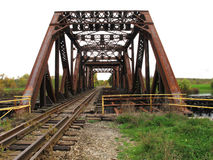 Old abandoned railroad bridge. Royalty Free Stock Images