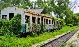 Old abandoned railroad car Stock Photo