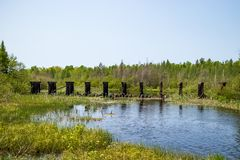 Old abandoned railroad ruins in Mosquite Brook near Hayward, WI. In the Northwoods stock images