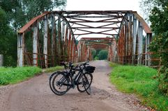 Bridge, tourism, Bicycle, rusty, riveted, old, iron Royalty Free Stock Photography