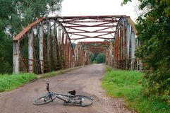 Bridge, tourism, Bicycle, rusty, riveted, old, iron Stock Image