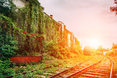 The old abandoned railway or rail road Royalty Free Stock Photo