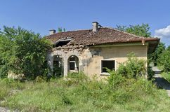 Old abandoned railway station building Stock Image