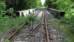 Old abandoned railway track bridge Stock Photo