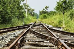 Abandoned railway tracks in the countryside, Guilin, Guangxi Pr Royalty Free Stock Photography