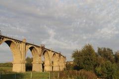 Old abandoned railway viaduct stock photo